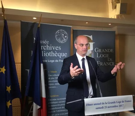 Jean-Michel Blanquer, ministre de l'Education nationale, à la GLDF le 25 novembre 2017.