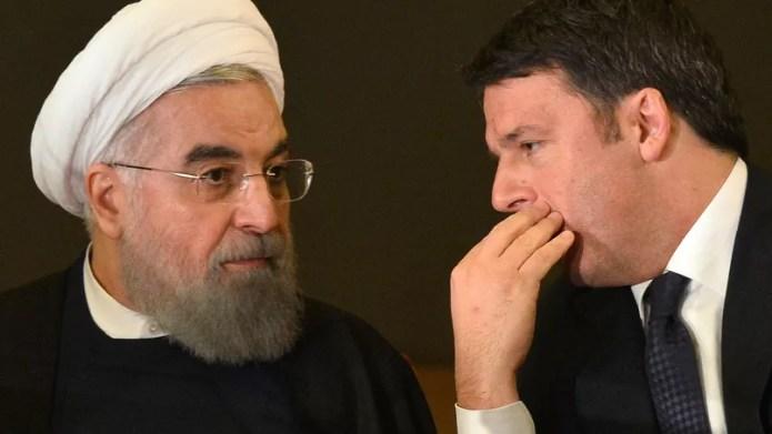Le président iranien Hassan Rohani en discussion avec le premier ministre italien Matteo Renzi lundi à Rome.