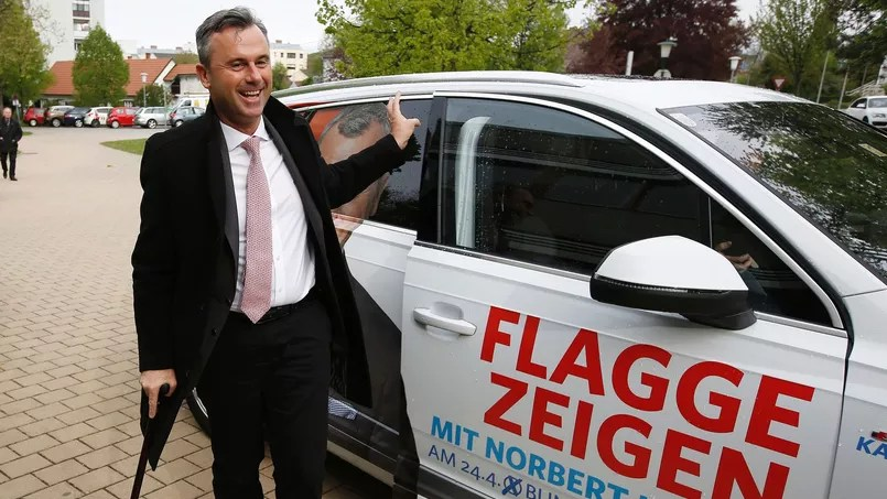 Le candidat du parti d'extrême droite, le FPÖ Norbert Hofer, arrivé en tête du premier tour des présidentielles dimanche.