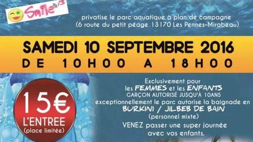 Le flyer de la journée «Burkini» organisée dans un parc aquatique des Bouches-du-Rhône, privatisée pour l'occasion.