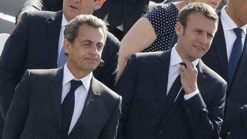Nicolas Sarkozy et Emmanuel Macron à Paris, le 8 mai 2016.