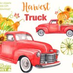 Watercolor Harvest Vintage Truck Clipart 307170 Illustrations Design Bundles