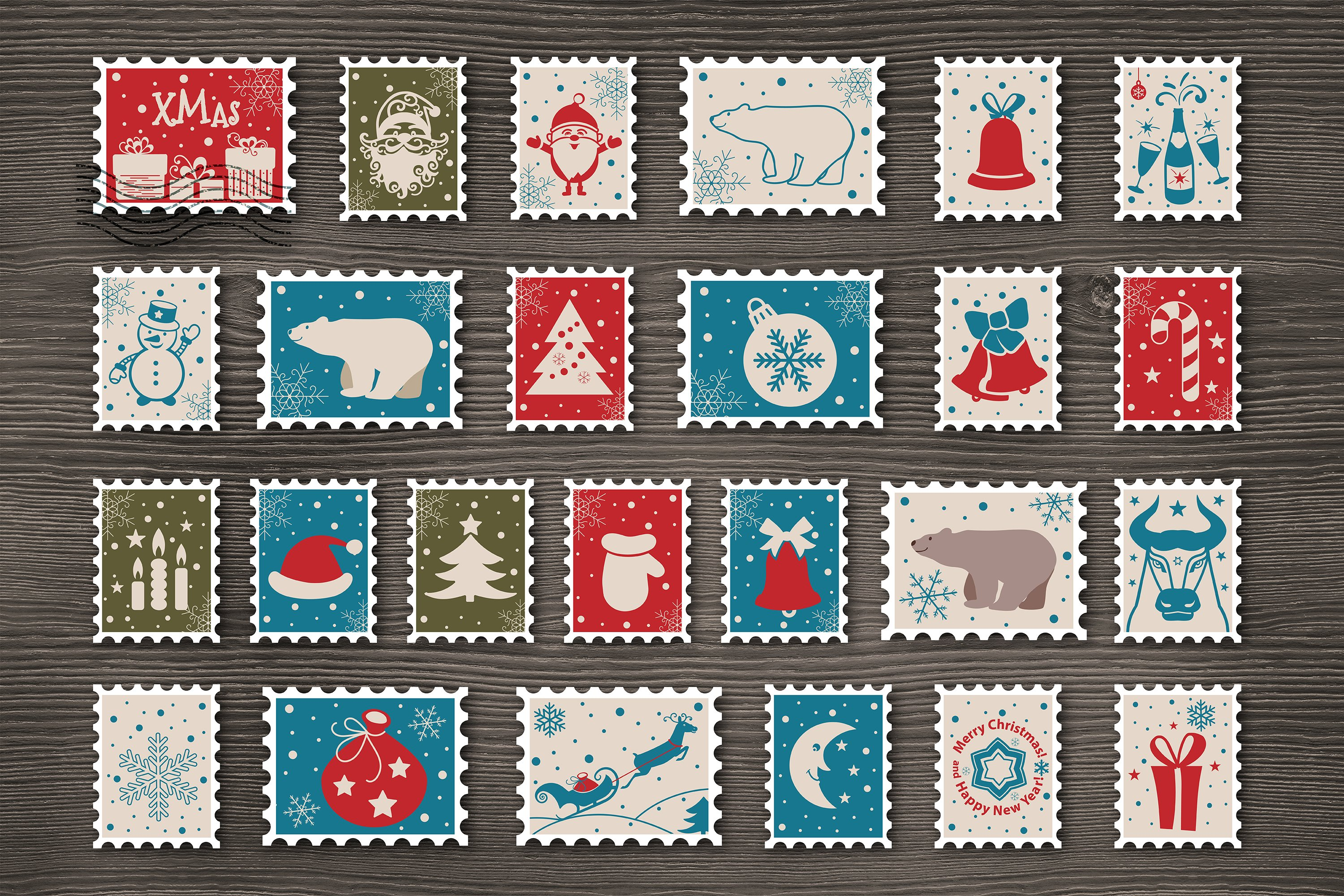 Christmas Postage Stamps With Santa Claus Snowman Deer