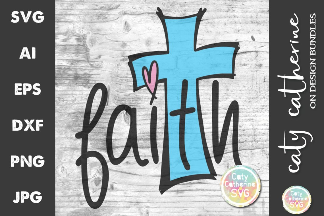 Download Faith Cross with Love Heart SVG Cut File (605497) | SVGs ...