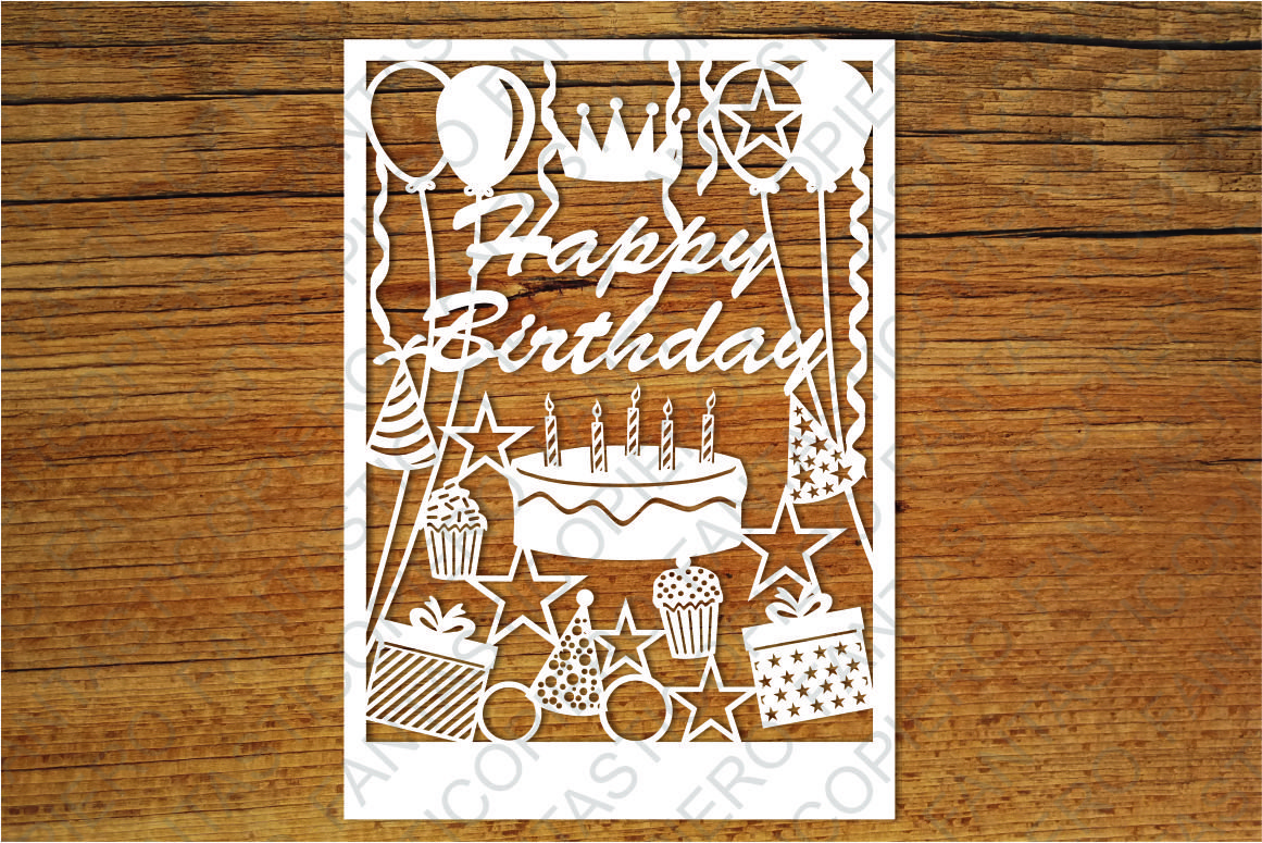 Happy Birthday Card Svg Files For Silhouette And Cricut 54676 Cut Files Design Bundles