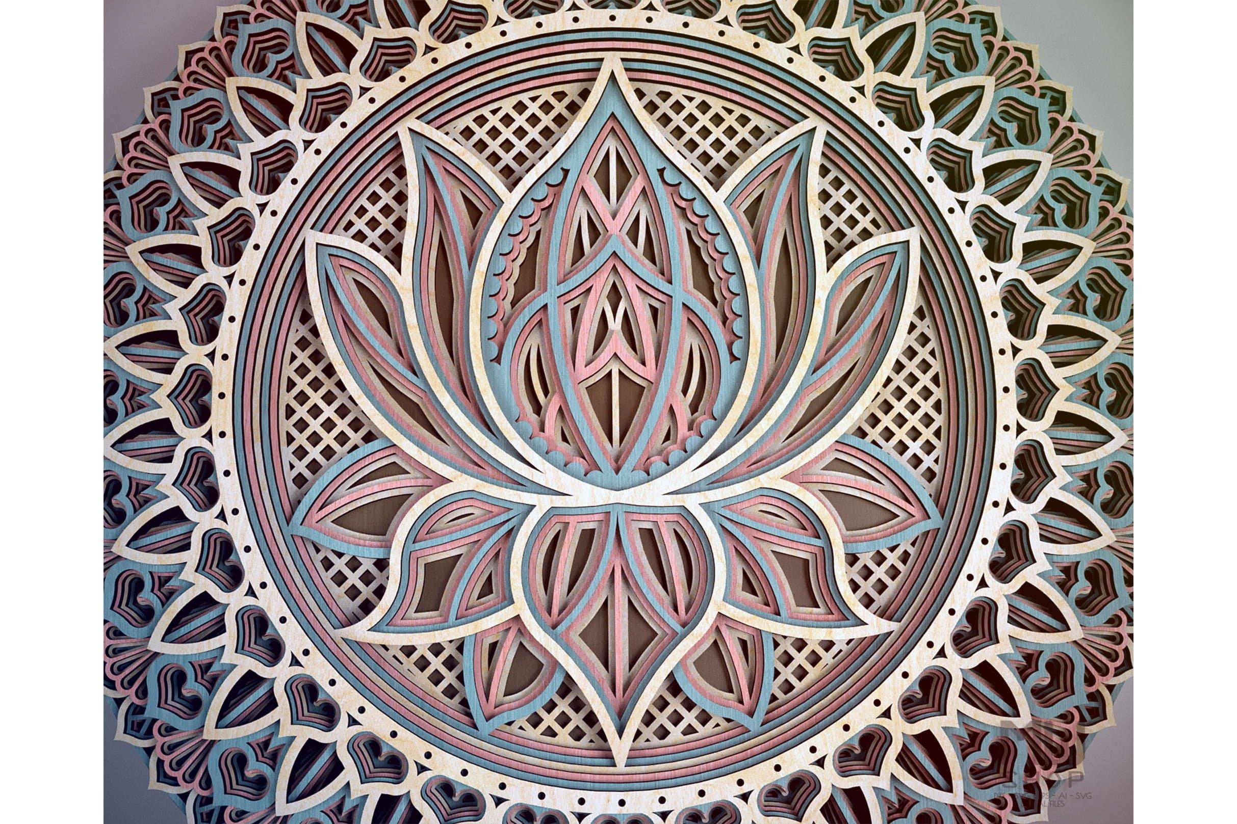 M12 Lotus Flower Mandala Pattern 578808 Laser Engraving Design Bundles