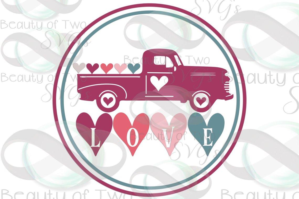 Download Valentines Vintage Truck love hearts wreath svg, love svg ...