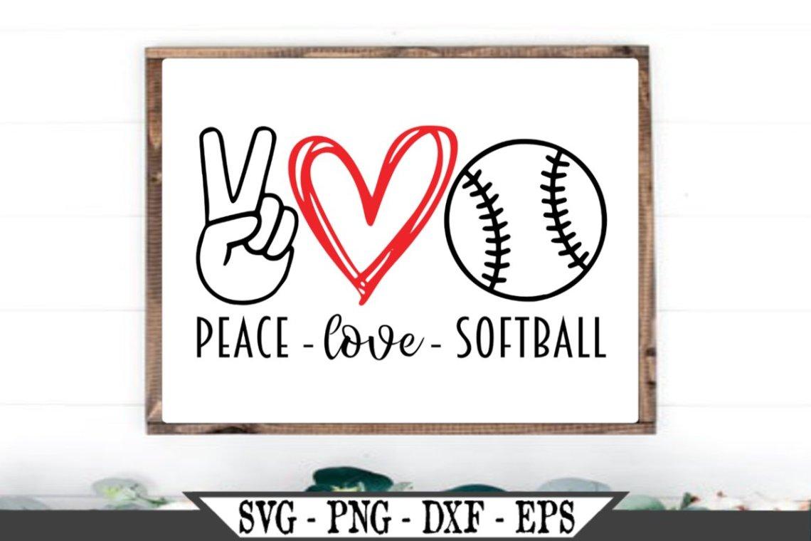 Download Peace Love Softball SVG (515443) | SVGs | Design Bundles