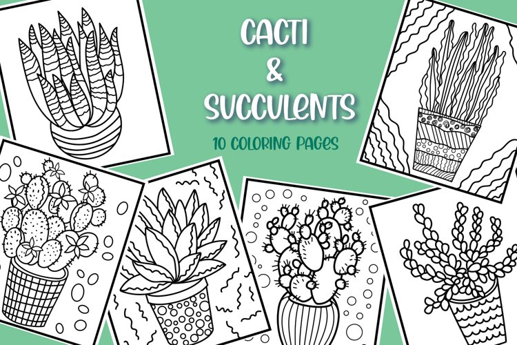 Cacti & Succulent Coloring Pages - 10 items example image 1