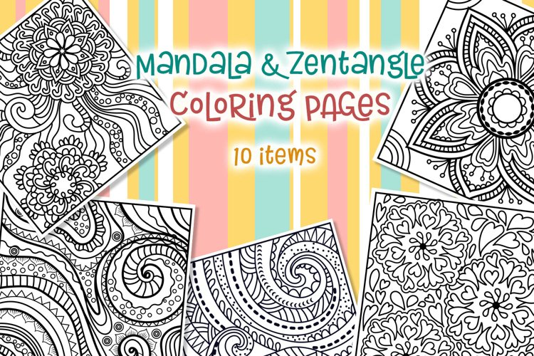 Mandala $ Zentangle Coloring Pages - 10 items example image 1