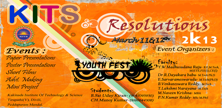 Resolutions 2k13 - Techno Cultural Fest in Kakinada, Andhra Pradesh from March 11-13, 2013