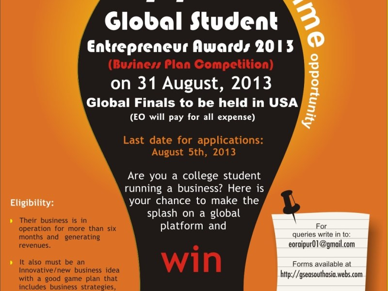 Global Student Entrepreneur Awards South Asia 2013 in Raipur on August 31, 2013