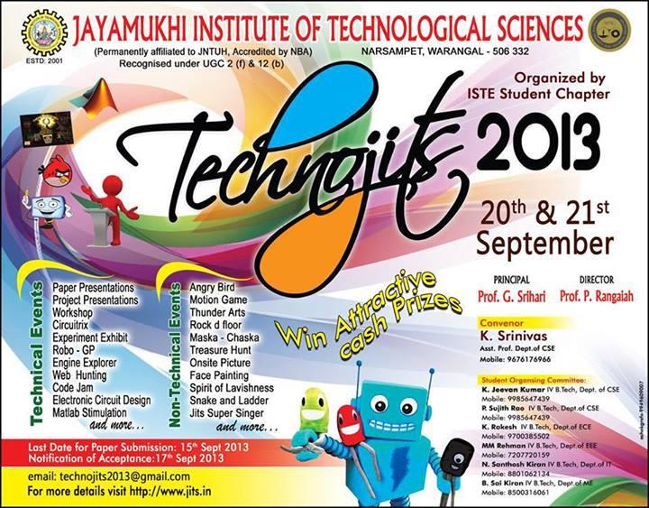 Technojits 2013 - Technical Festival in Warangal from September 20-21, 2013