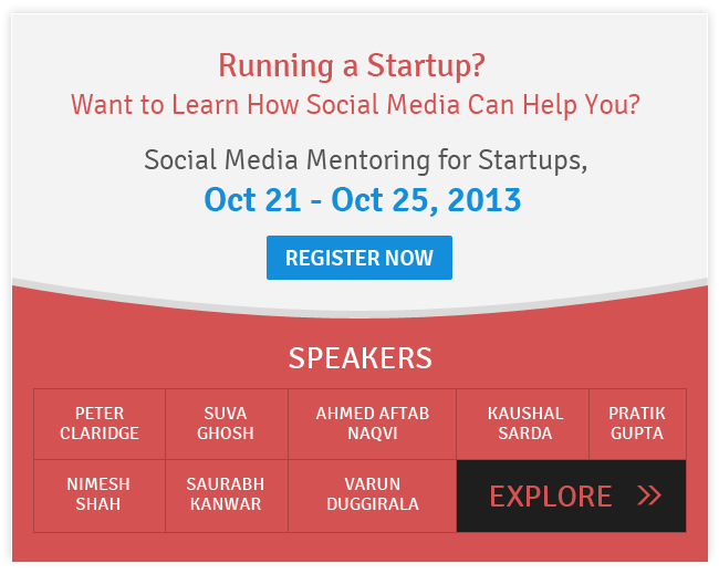 Social Media Mentoring for Startups by Hangouts from October 21-25, 2013