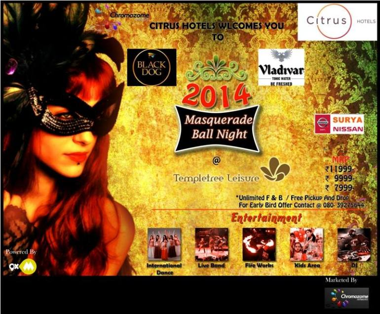 Masquerade Ball Night- New Year Eve in Bangalore on December 31, 2013