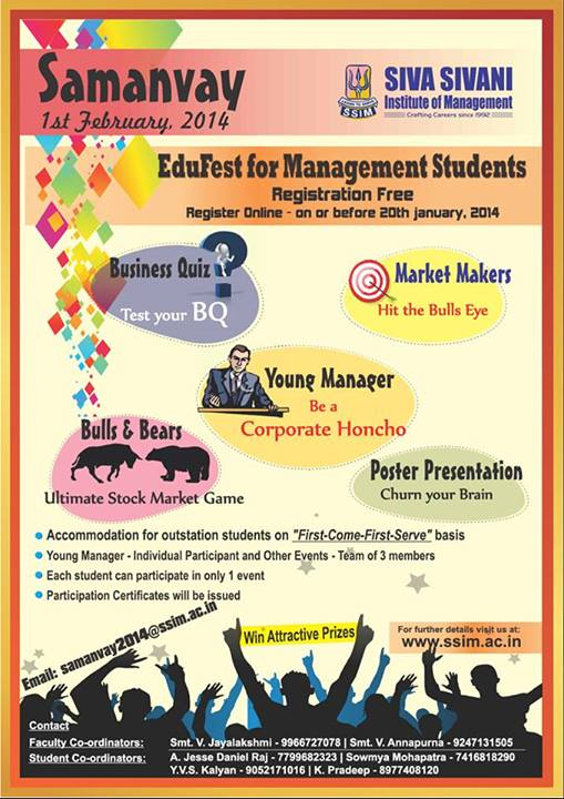 Samanvay - EduFest for Management Students in Hyderabad on February 1, 2014