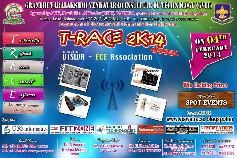 T-RACE 2K14 - Tech Fest in Andhra Pradesh on February 4, 2014