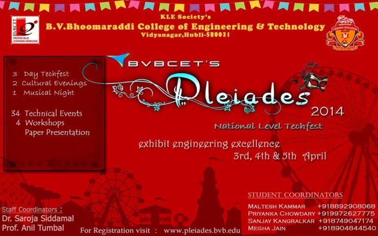 Pleiades 2014 - Tech Fest in Karnataka from April 3-5, 2014