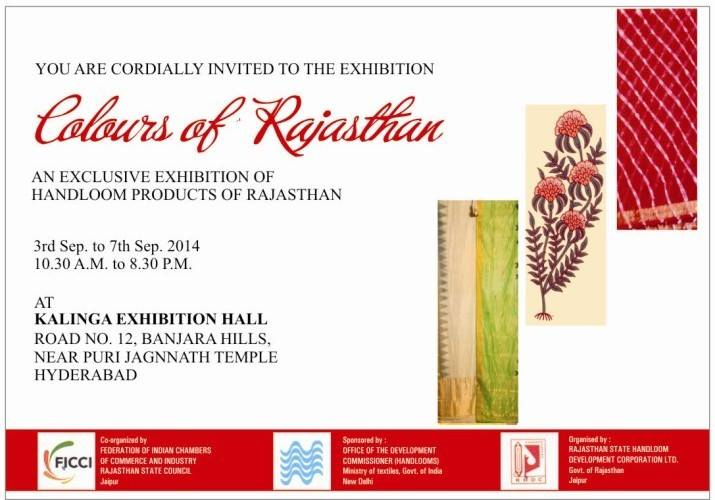 FICCI Colours of Rajasthan Exhibition in Hyderabad from September 3-7, 2014