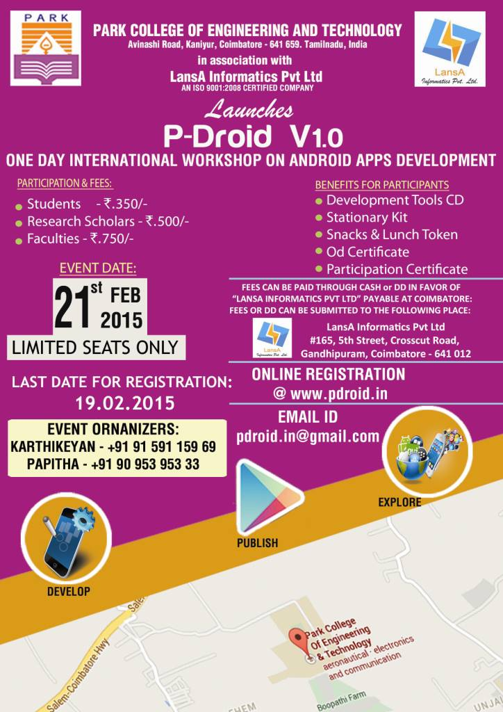 P-Droid v1.0 - Android App Development Workshop in Coimbatore on February 21, 2015