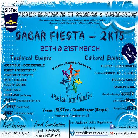 Sagar Fiesta 2015 - Technical Festival in Bhopal from March 19-21, 2015