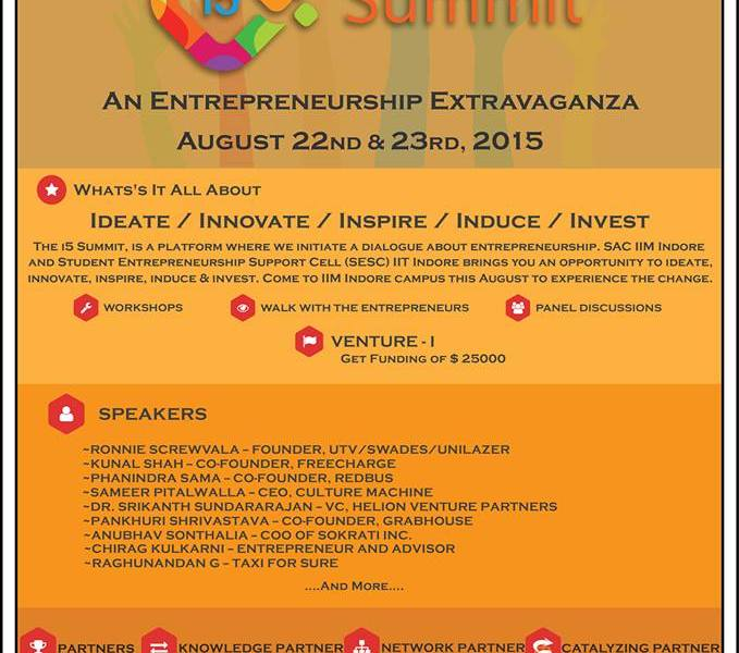 i5 Summit - The Entrepreneurship Summit in IIM Indore from August 22-23, 2015