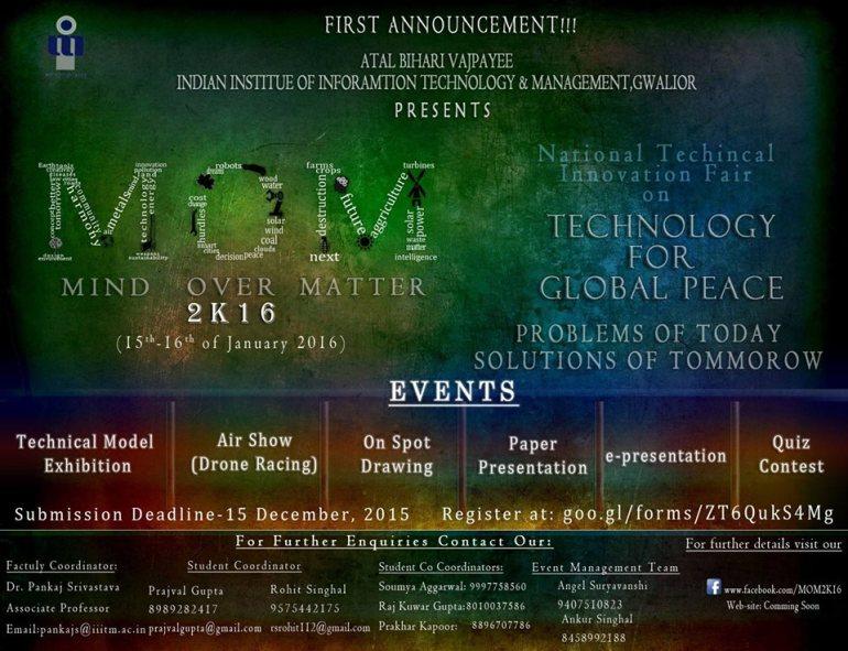 MOM 2K16 - Technical Innovation Fair in Gwalior from January 15-16, 2016