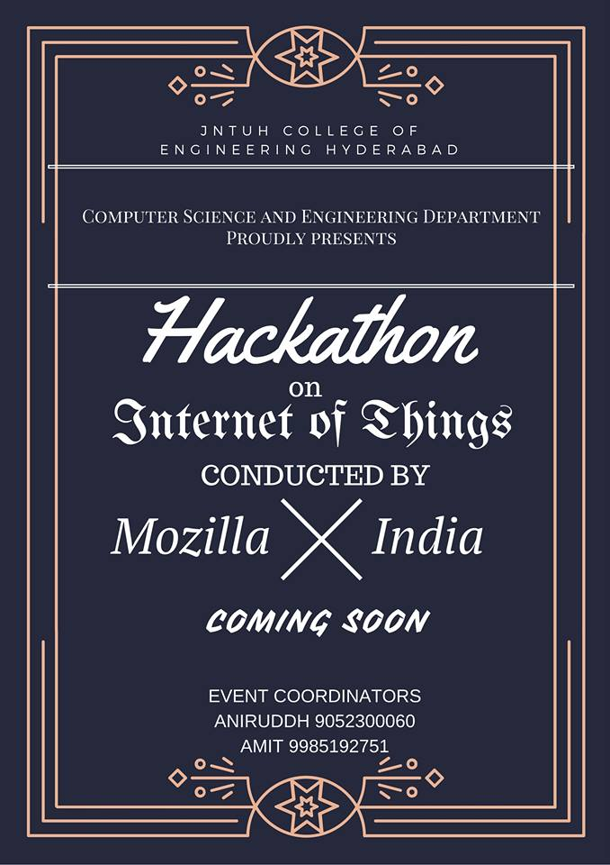 Hakcathon on Internet of Things in JNTU Hyderabad from March 18-19, 2016