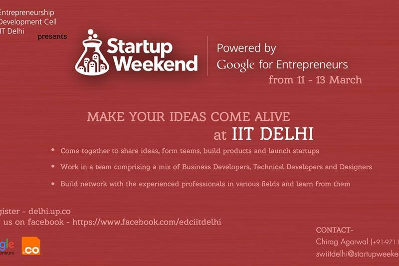 Startup Weekend in Delhi from March 11-13, 2016