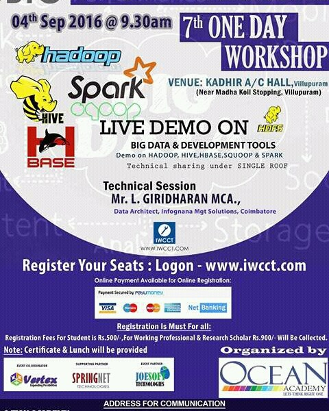 IWCCT - One Day Workshop on Big Data in Tamil Nadu on September 4, 2016