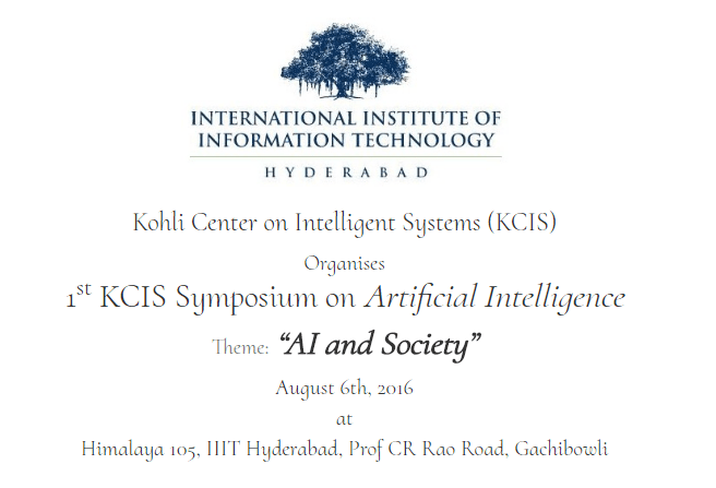 KCIS Symposium on Artificial Intelligence in Hyderabad on August 6, 2016