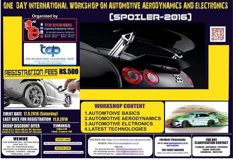 Spoiler 2016 Workshop on Automotive Aerodynamics and Electronics in Chennai on September 17, 2016