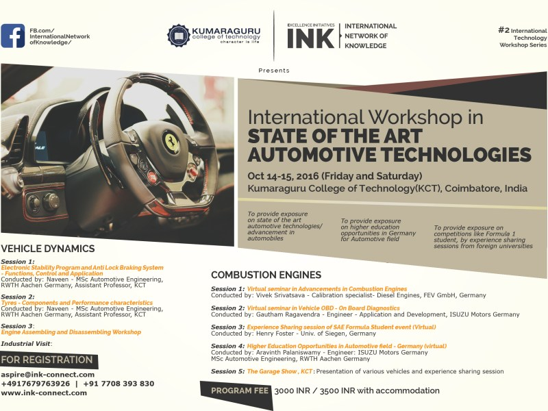 INK International Workshop in State of the Art Automotive Technologies 2016 in Tamil Nadu from October 21-22, 2016