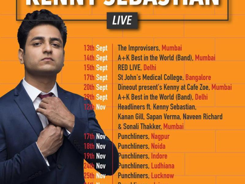 Kenny Sebastian Live in 2017 in India from September - November, 2017