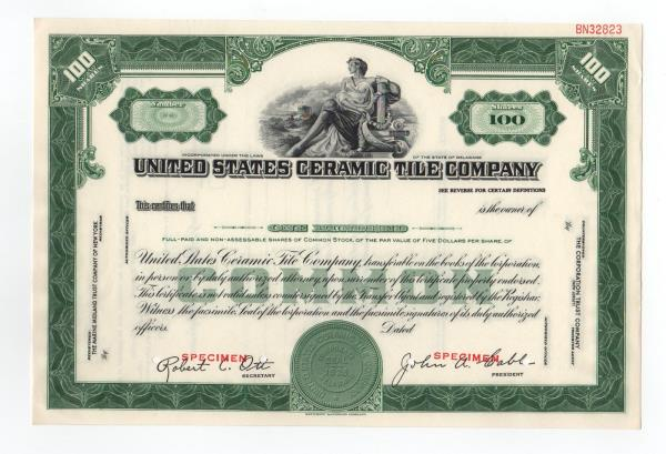 details about specimen united states ceramic tile company stock certificate
