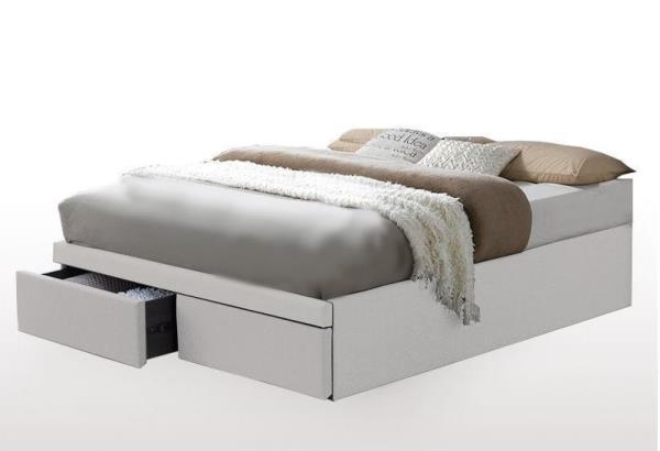 details about hollies queen bed base with 2 storage drawers oatmeal