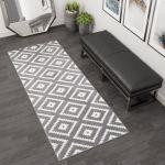 Grey Amp White New Small Large Modern Long Hall Runner Mats Diamond Pattern Rug