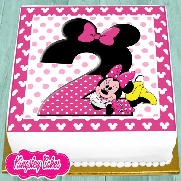 Precut Edible Icing 7 5 Inch Minnie Mouse 2nd Happy Birthday Cake Topper Ns0994 Ebay
