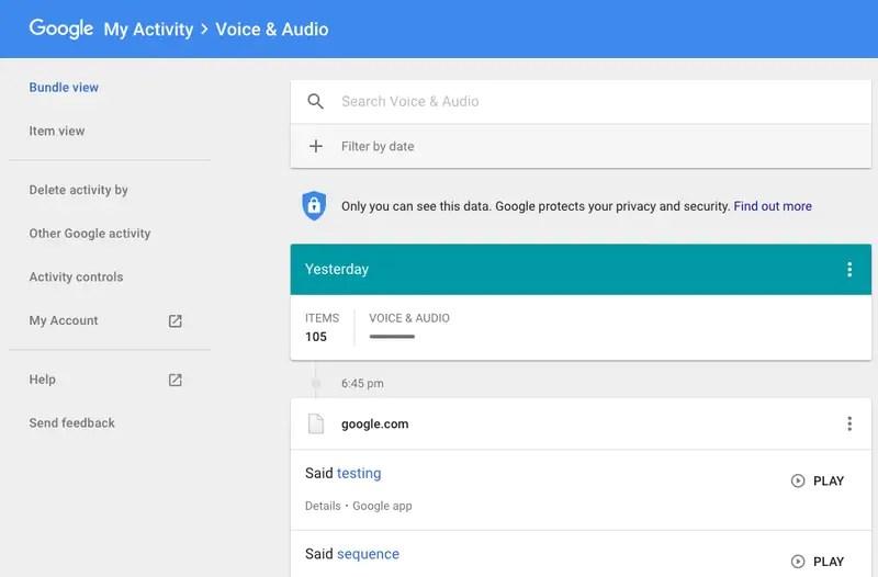 كيف تحذف جوجل البحث الصوتي التاريخ 2