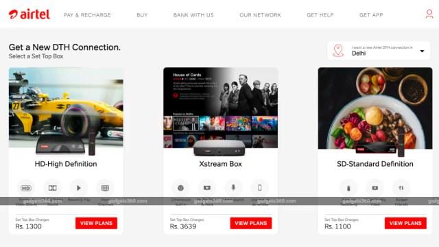 airtel digital tv hd sd set top box prices gadgets 360 Airtel Digital TV  Airtel