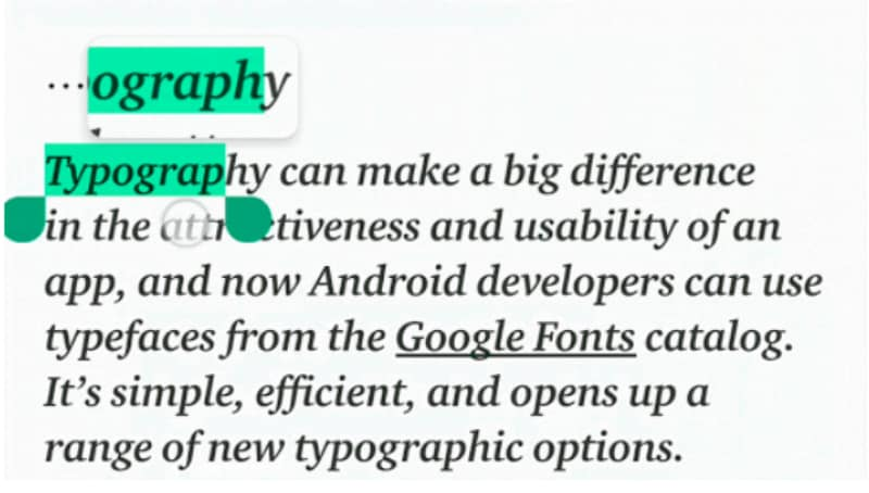 Android P's Text Magnifier to Make It Easier to Select and Copy Text