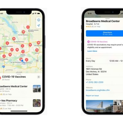 Apple Maps Now Shows Nearby COVID-19 Vaccination Centres in the US
