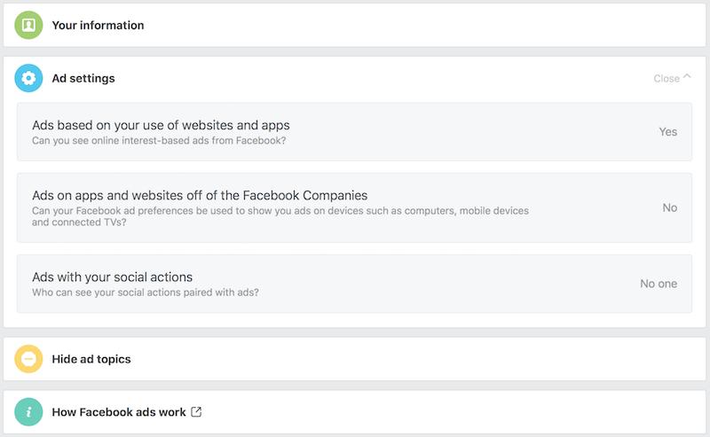facebook ad settings off Facebook