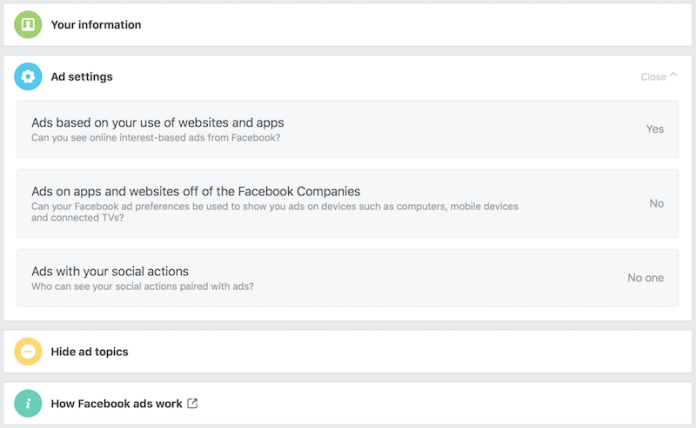 facebook ad settings off Facebook