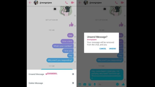 Facebook Messenger 'Unsend Message' Button Spotted