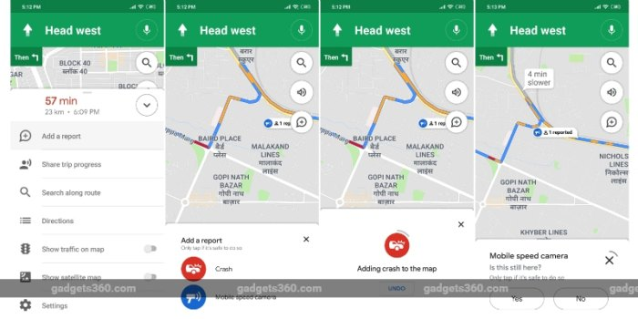 google maps accident speed trap reporting gadgets 360 Google Maps