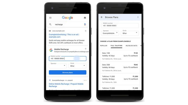 Google Search Now Allows Users to Recharge Prepaid Packs on Mobile in India: How it Works
