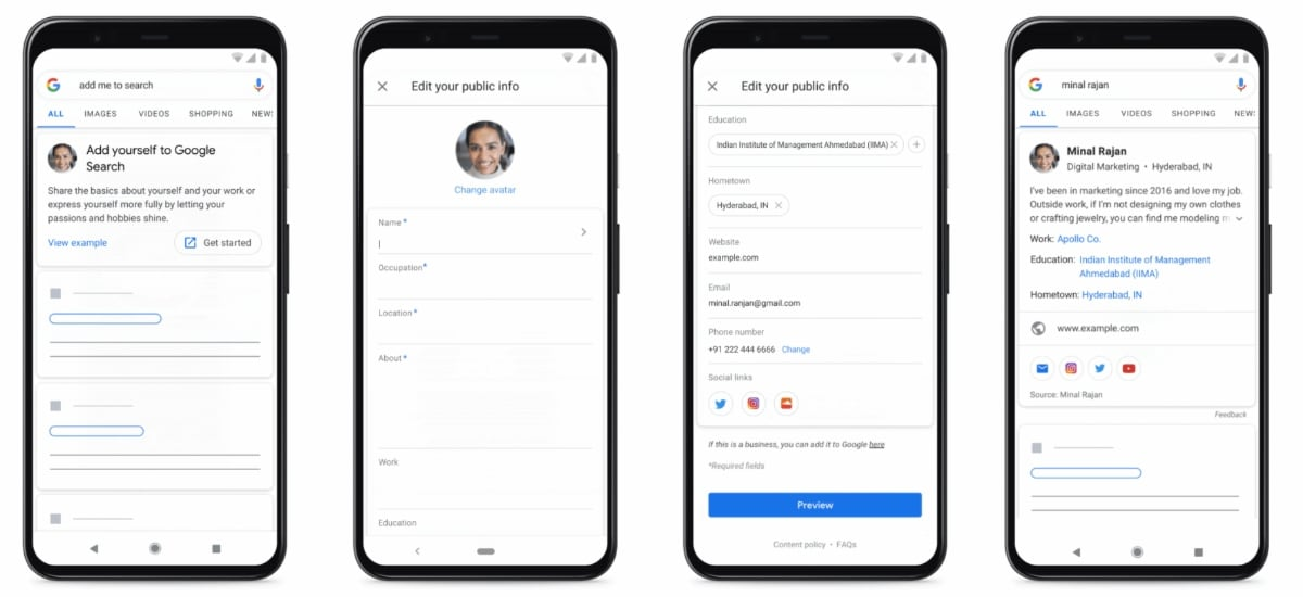 google search people card create Google Search