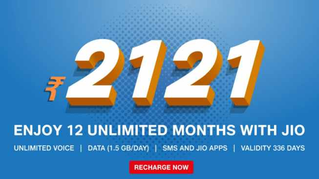 Jio Launches Rs. 2,121 Prepaid Recharge Plan With 1.5GB Daily High ...