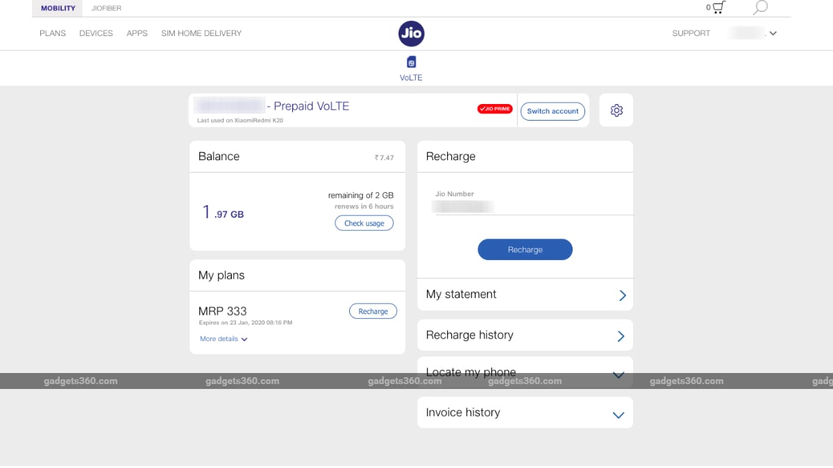 jio balance check website screenshot gadgets 360 Jio